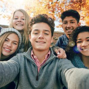 teens taking selfie