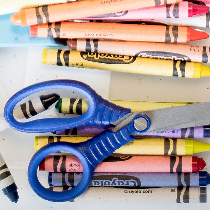 Crayons and scissors