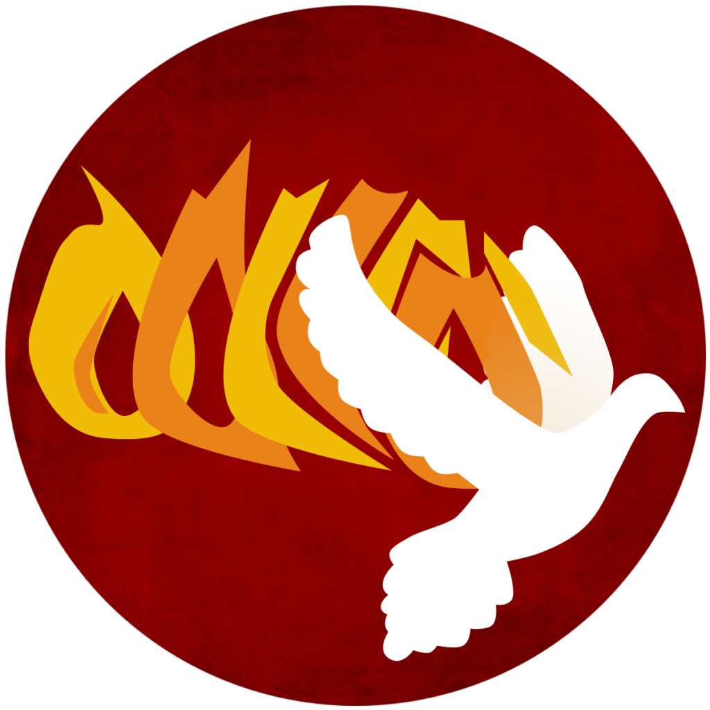 white dove on background of red, orange, and yellow flames