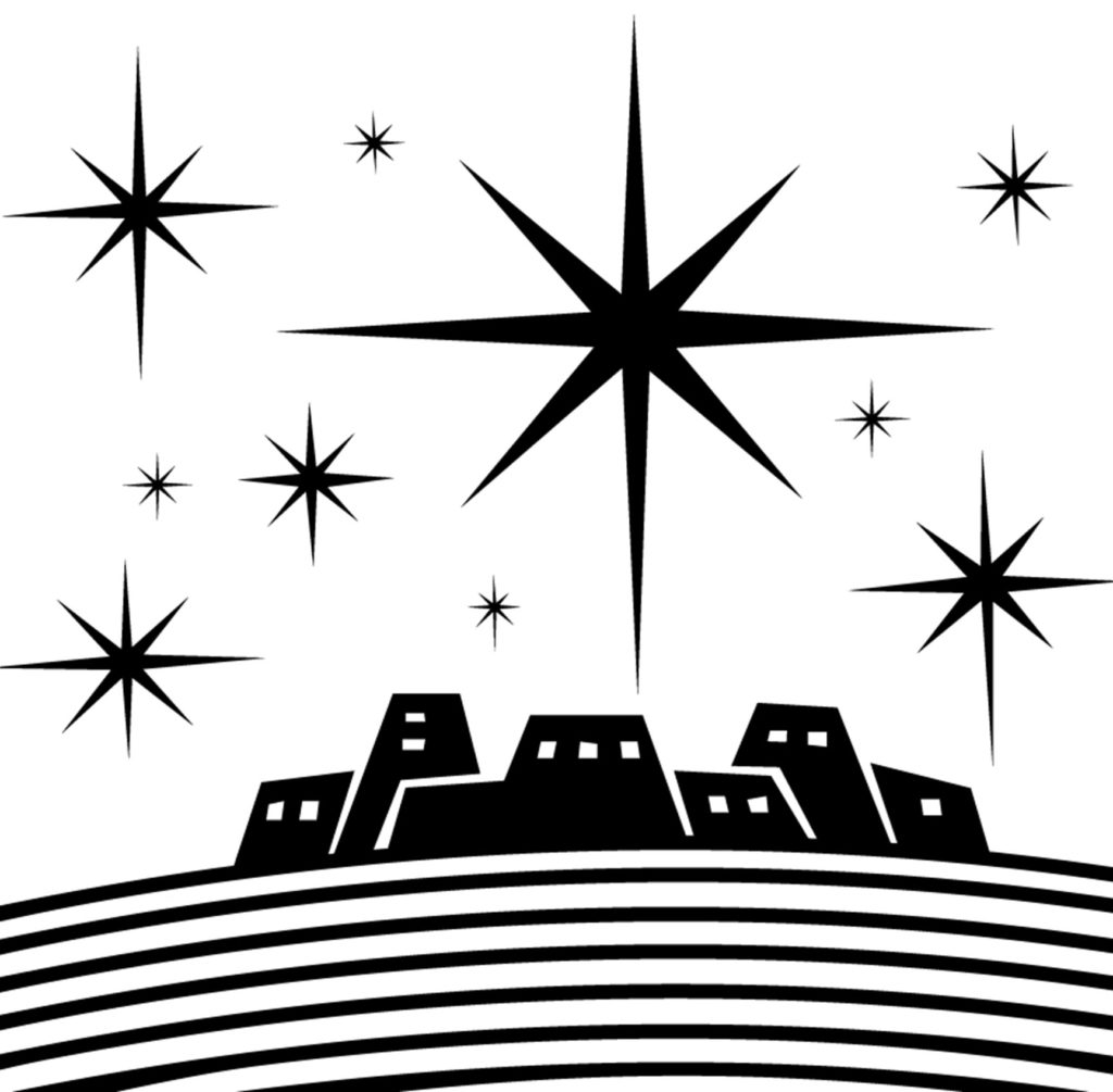 black and white illustration of a biblical town, stars in the sky