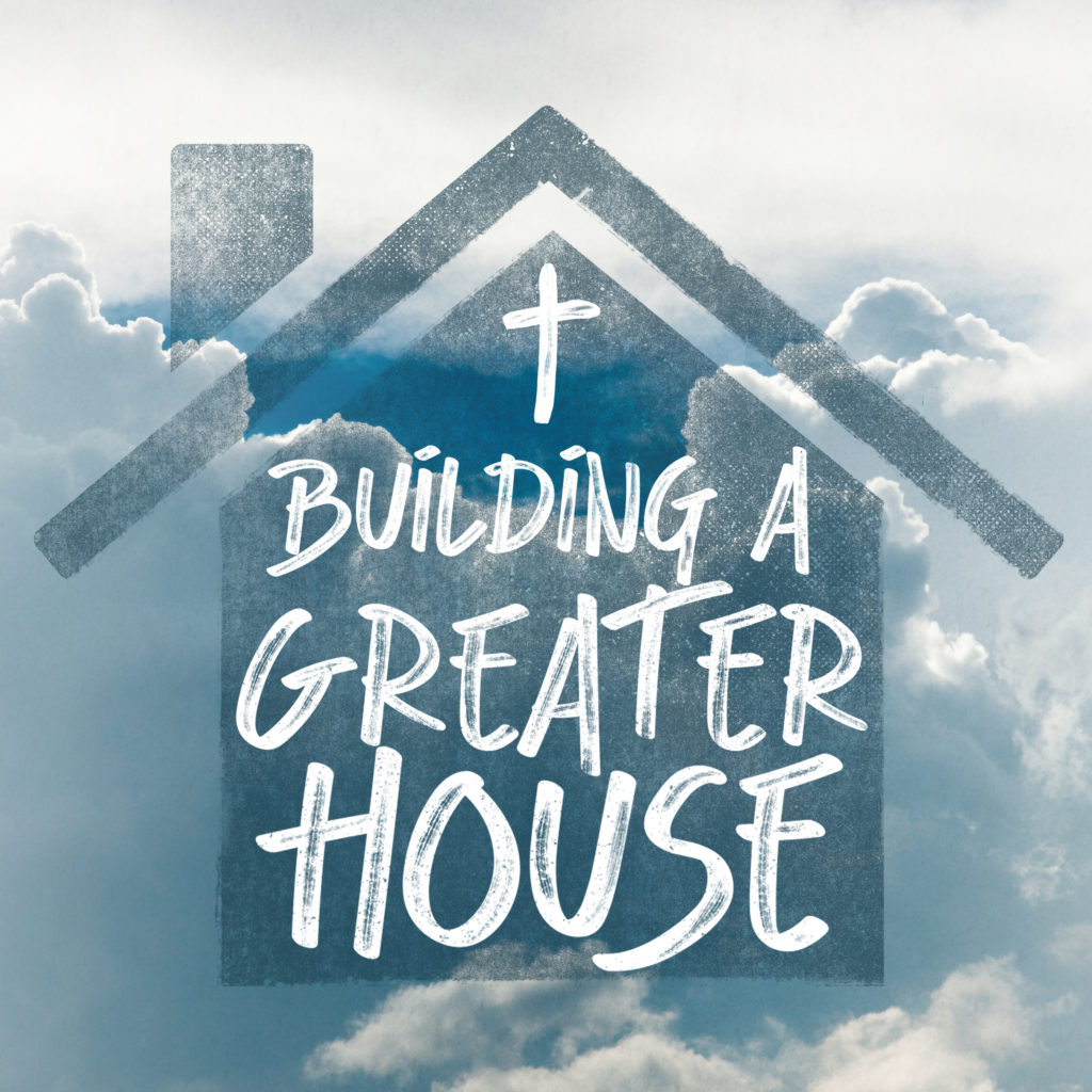 icon of a house labeled building a greater house, over background of clouds and sky