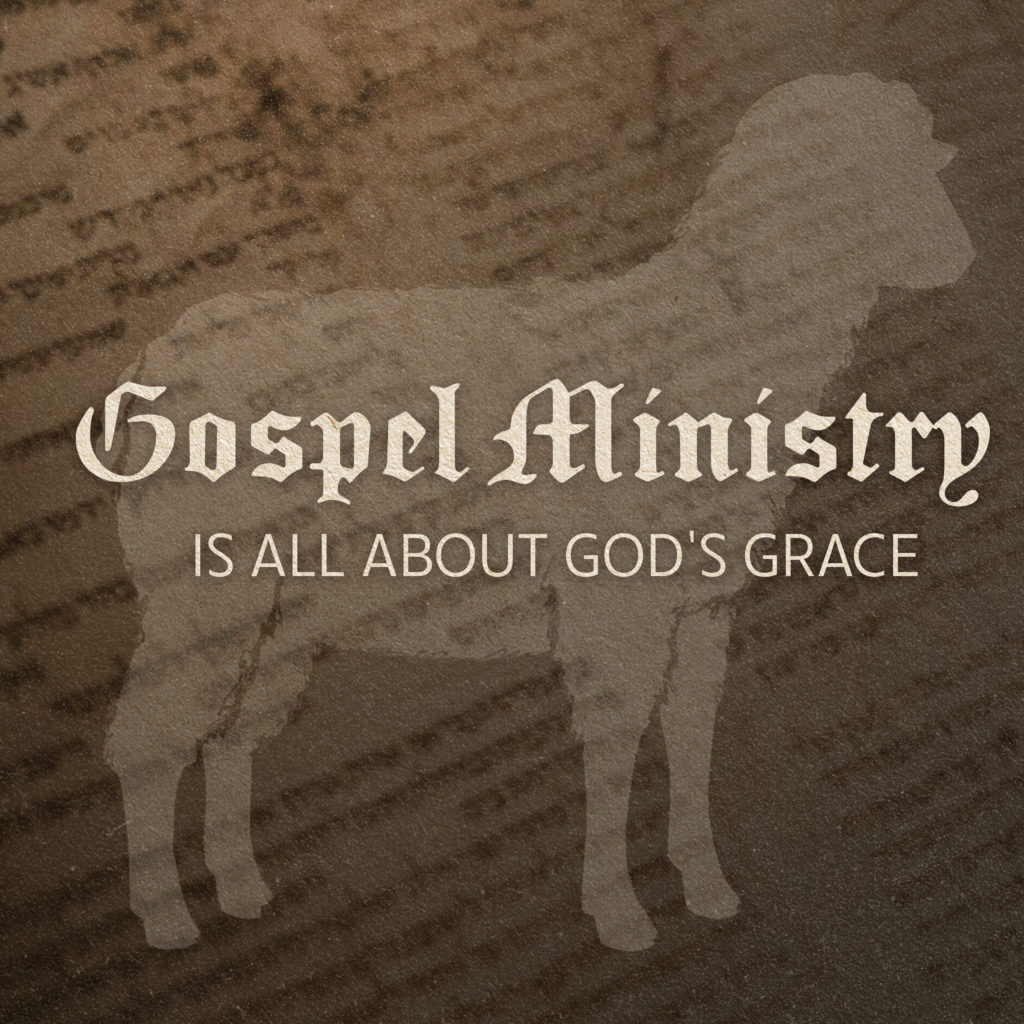 silhouette of sheep, text over: gospel ministry, it's all about god's grace
